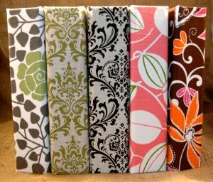 some print covers . green tea floral . green damask . black damask . pink java . funky florals
